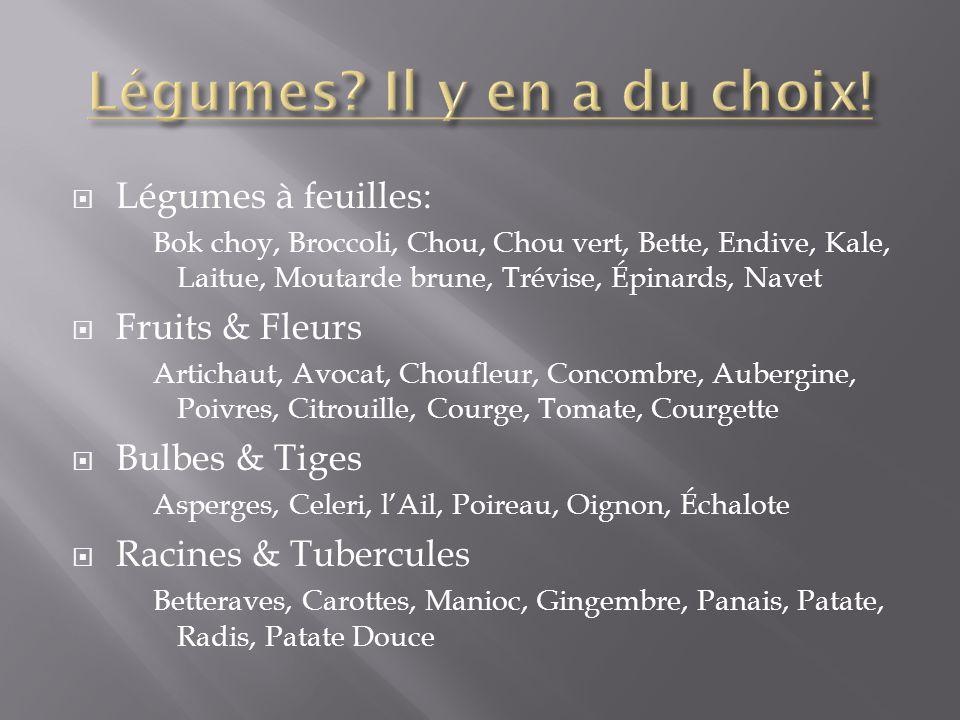 Légumes à feuilles: Bok choy, Broccoli, Chou, Chou vert, Bette, Endive, Kale, Laitue, Moutarde brune, Trévise, Épinards, Navet Fruits & Fleurs Articha