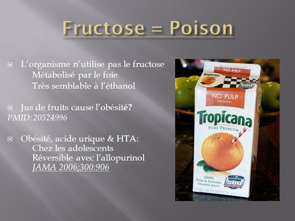 Lorganisme nutilise pas le fructose Métabolisé par le foie Très semblable à léthanol Jus de fruits cause lobésit é? PMID: 20524996 Obésité, acide uriq