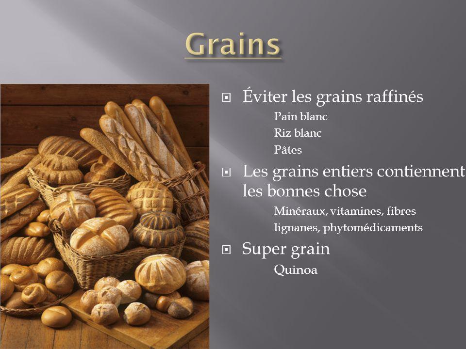 Éviter les grains raffinés Pain blanc Riz blanc Pâtes Les grains entiers contiennent les bonnes chose Minéraux, vitamines, fibres lignanes, phytomédic