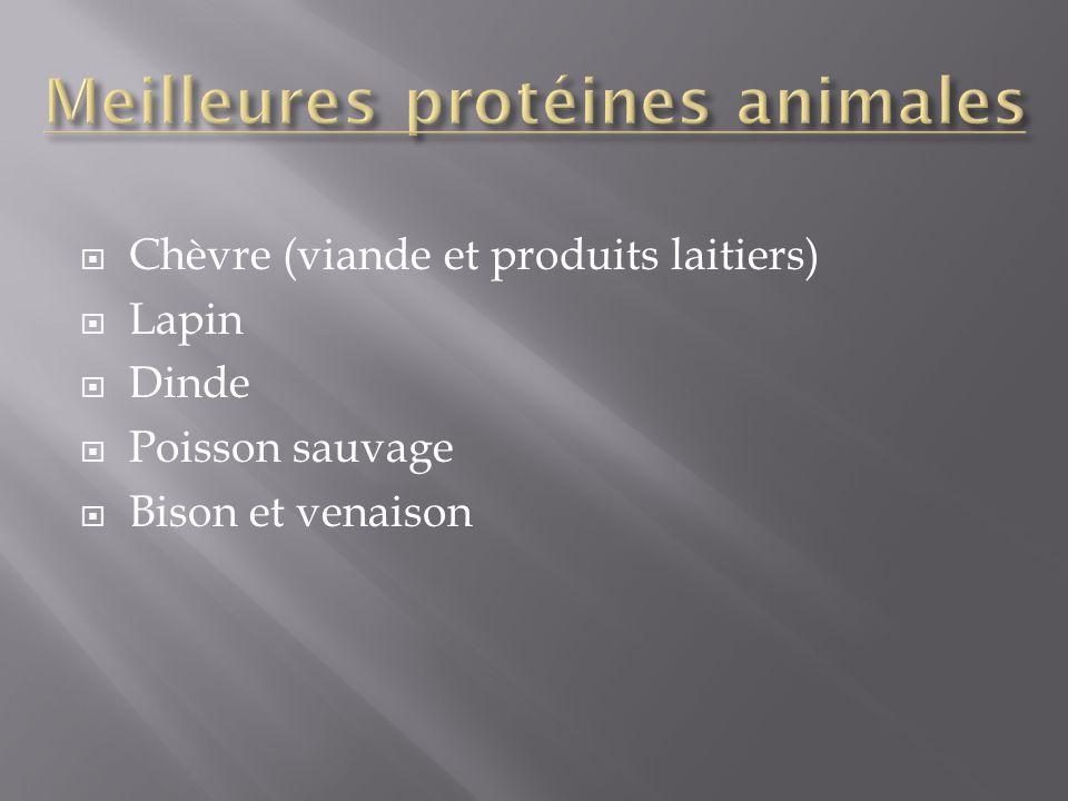 Chèvre (viande et produits laitiers) Lapin Dinde Poisson sauvage Bison et venaison