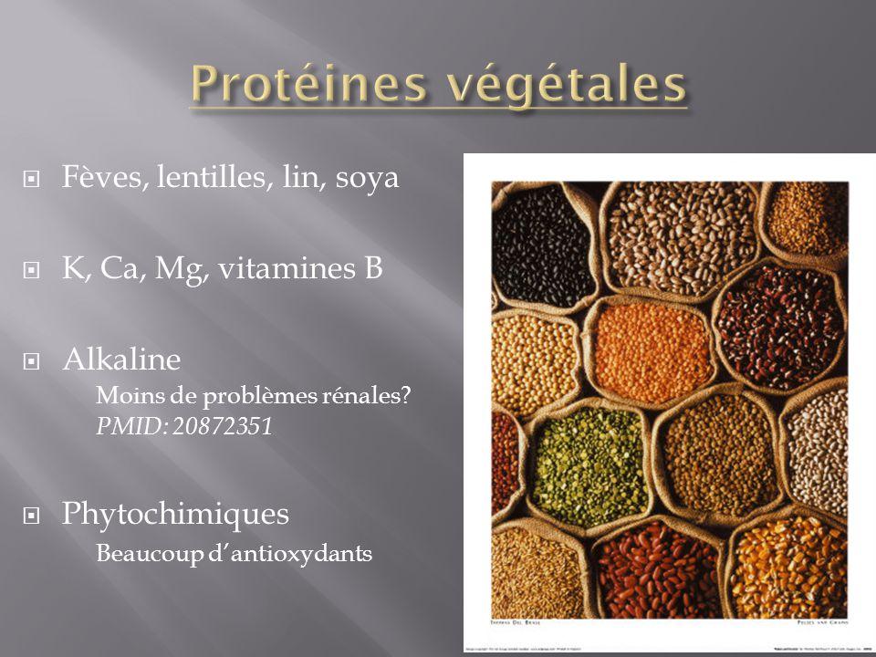 Fèves, lentilles, lin, soya K, Ca, Mg, vitamines B Alkaline Moins de problèmes rénales? PMID: 20872351 Phytochimiques Beaucoup dantioxydants