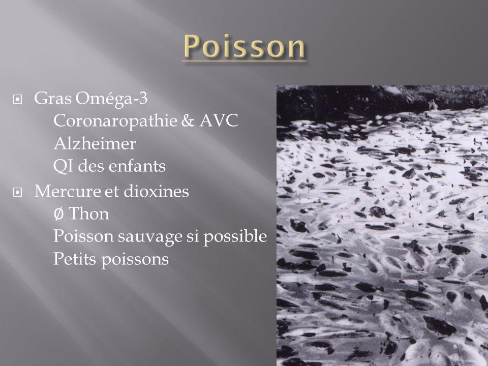 Gras Oméga-3 Coronaropathie & AVC Alzheimer QI des enfants Mercure et dioxines Thon Poisson sauvage si possible Petits poissons