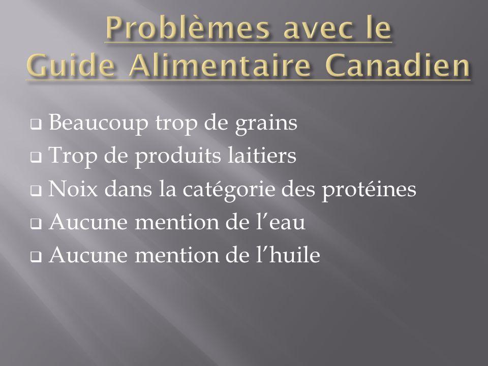 Beaucoup trop de grains Trop de produits laitiers Noix dans la catégorie des protéines Aucune mention de leau Aucune mention de lhuile