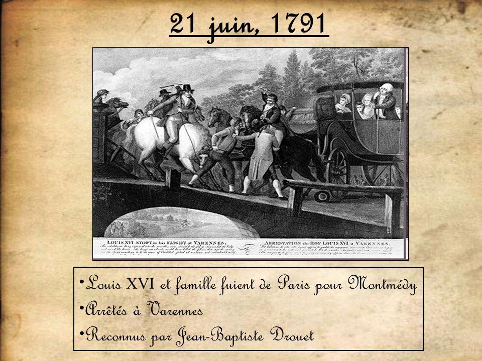 21 juin, 1791 Louis XVI et famille fuient de Paris pour Montmédy Arrêtés à Varennes Reconnus par Jean-Baptiste Drouet