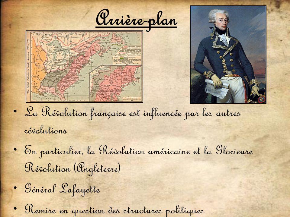 Arrière-plan La Révolution française est influencée par les autres révolutions En particulier, la Révolution américaine et la Glorieuse Révolution (An