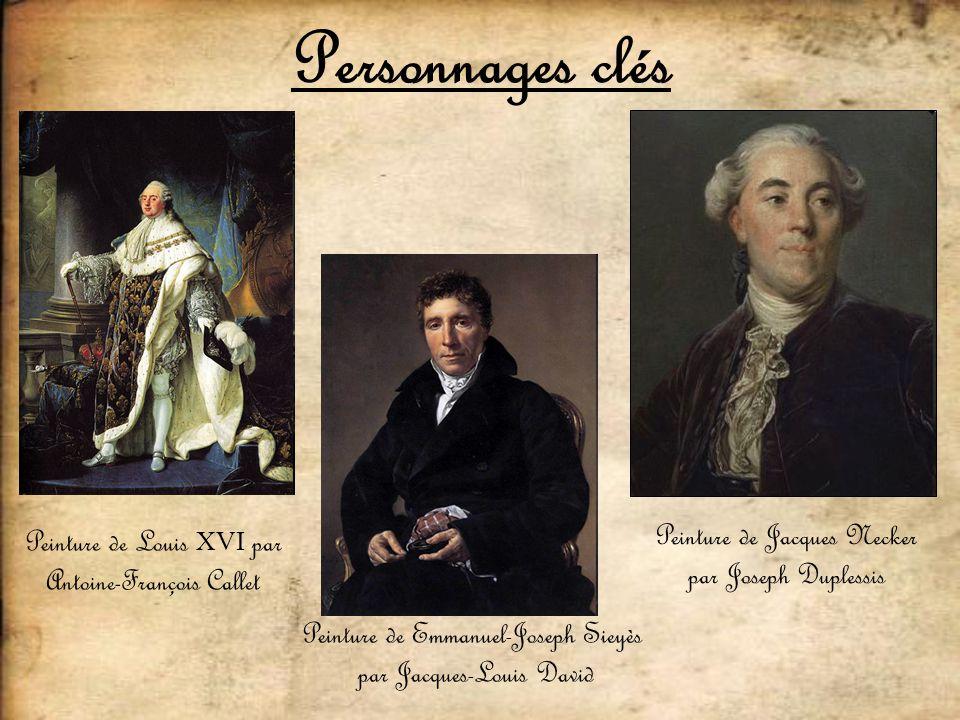 Personnages clés Peinture de Emmanuel-Joseph Sieyès par Jacques-Louis David Peinture de Jacques Necker par Joseph Duplessis Peinture de Louis XVI par