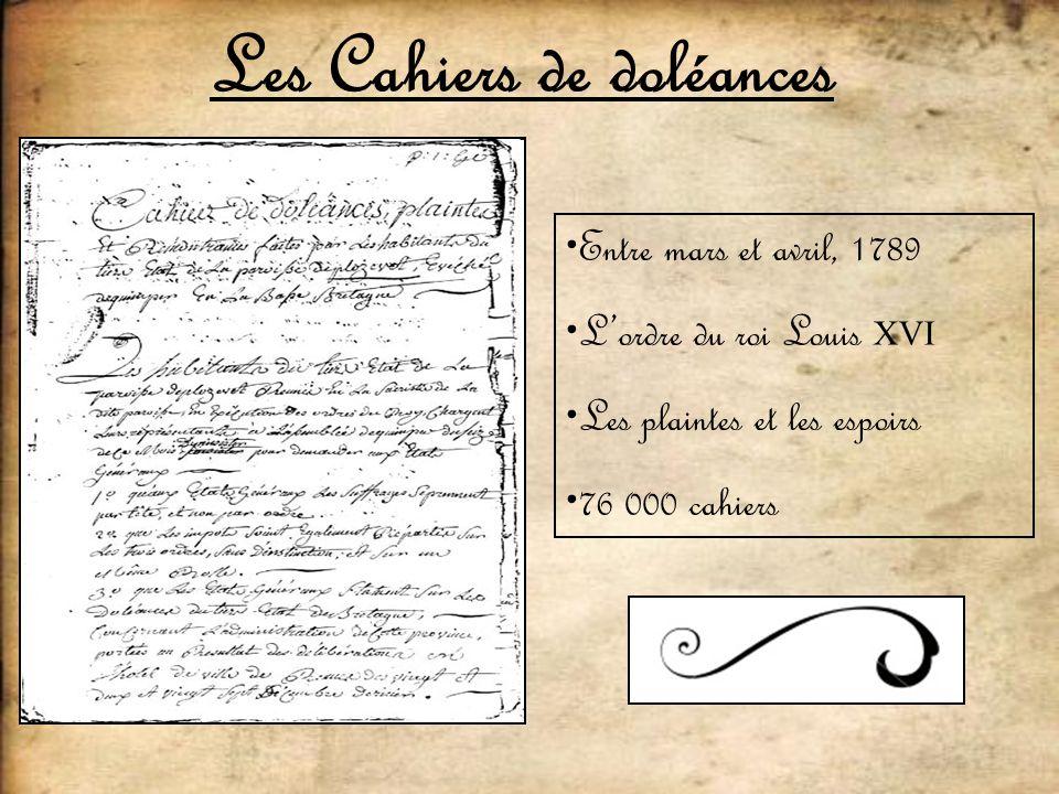 Les Cahiers de doléances Entre mars et avril, 1789 Lordre du roi Louis XVI Les plaintes et les espoirs 76 000 cahiers