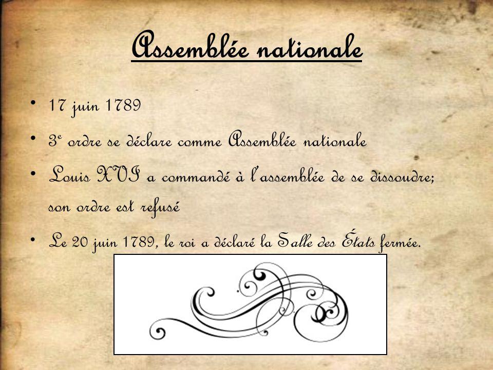 Assemblée nationale 17 juin 1789 3 e ordre se déclare comme Assemblée nationale Louis XVI a commandé à lassemblée de se dissoudre; son ordre est refus