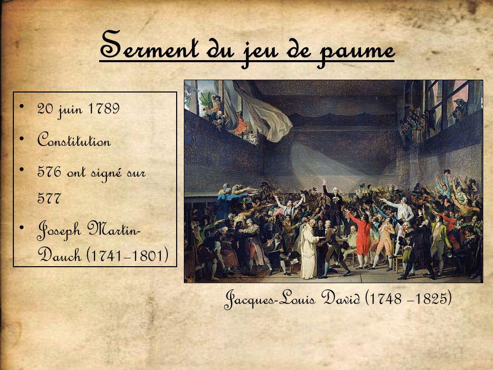 Serment du jeu de paume 20 juin 1789 Constitution 576 ont signé sur 577 Joseph Martin- Dauch (1741–1801) Jacques-Louis David (1748 –1825)