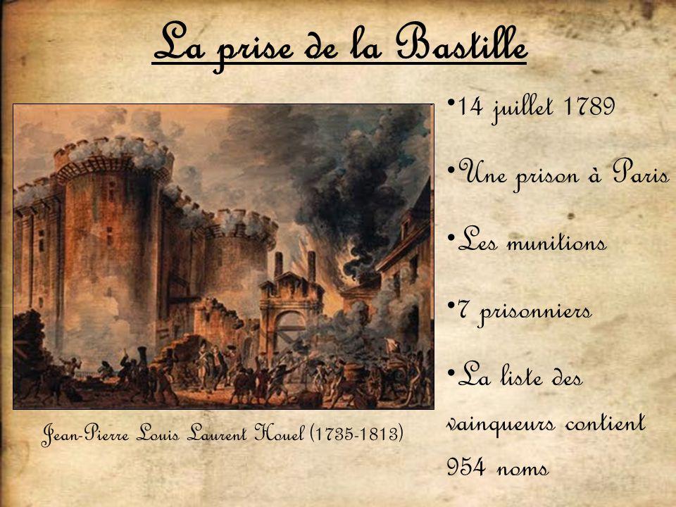 La prise de la Bastille Jean-Pierre Louis Laurent Houel (1735-1813) 14 juillet 1789 Une prison à Paris Les munitions 7 prisonniers La liste des vainqu