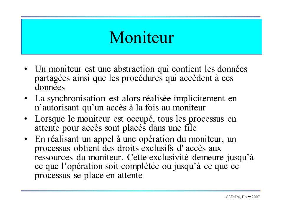 CSI2520, Hiver 2007 Moniteur Un moniteur est une abstraction qui contient les données partagées ainsi que les procédures qui accèdent à ces données La