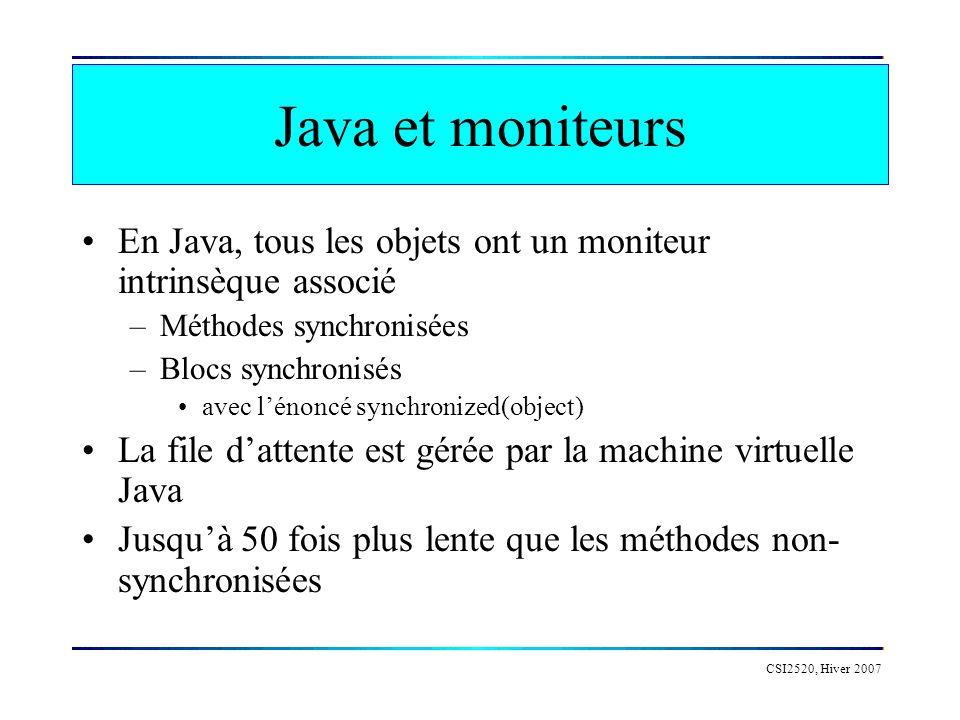 CSI2520, Hiver 2007 Java et moniteurs En Java, tous les objets ont un moniteur intrinsèque associé –Méthodes synchronisées –Blocs synchronisés avec lénoncé synchronized(object) La file dattente est gérée par la machine virtuelle Java Jusquà 50 fois plus lente que les méthodes non- synchronisées