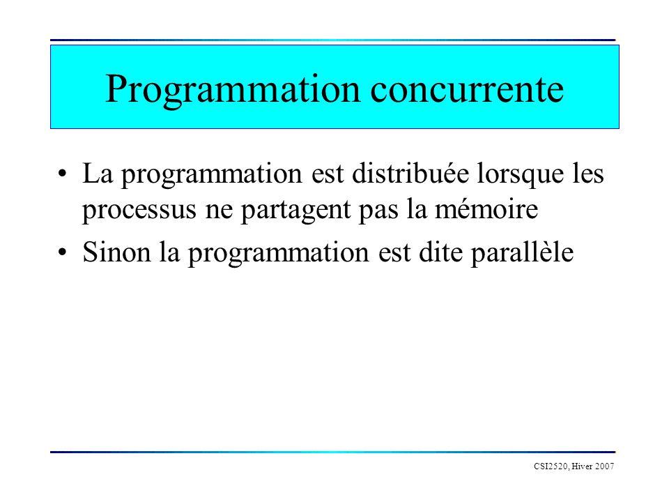 CSI2520, Hiver 2007 Processus Un processus ou tâche est une instance d un programme ou d une partie d un programme pouvant être exécuté de façon autonome Un langage de programmation concurrente doit permettre: –la création de processus: des processus concurrents peuvent être créés à partir de n importe quel langage en utilisant de mécanismes explicites de programmation concurrente –la synchronisation de leurs opérations: Synchronisation coopérative: lorsqu un processus attend la fin de lexécution d un autre avant de poursuivre son exécution.