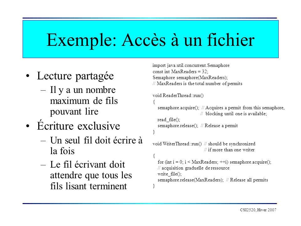 CSI2520, Hiver 2007 Exemple: Accès à un fichier Lecture partagée –Il y a un nombre maximum de fils pouvant lire Écriture exclusive –Un seul fil doit é