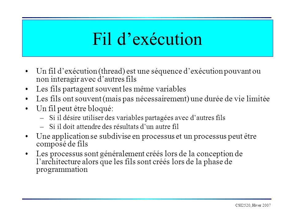 CSI2520, Hiver 2007 Exemple: Le producteur/consommateur private LinkedList list = new LinkedList(); public void produce() { int len = 0; synchronized(list) { // impose un verrou sur la liste Object justProduced = new Object(); list.addFirst(justProduced); len = list.size(); list.notifyAll(); // avise les autres fils } // libere le verrou System.out.println( List size now + len); }