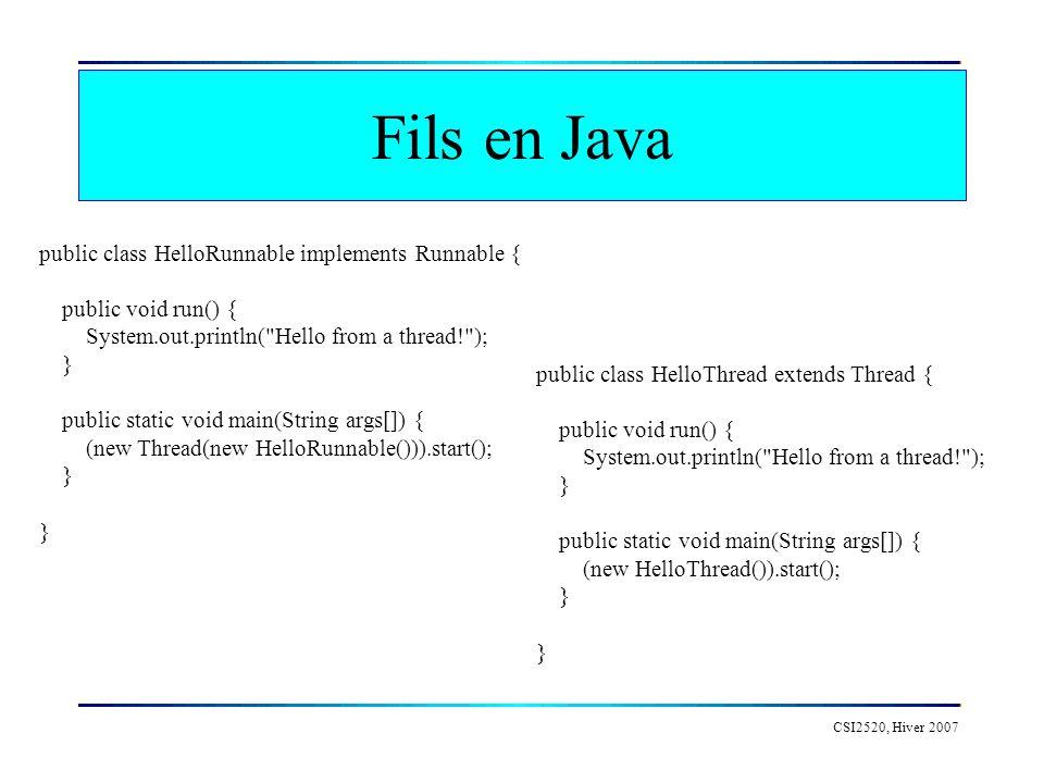 CSI2520, Hiver 2007 Contrôle des fils HelloThread thread = HelloThread Fil(); thread.start(); // demarrer le fil dexecution thread.sleep( 3000 ); // mettre un fil en pause thread.isAlive(); // verifier si un fil est actif thread.interrupt(); // interrompre un fil thread.join(); // attendre la terminaison dun fil