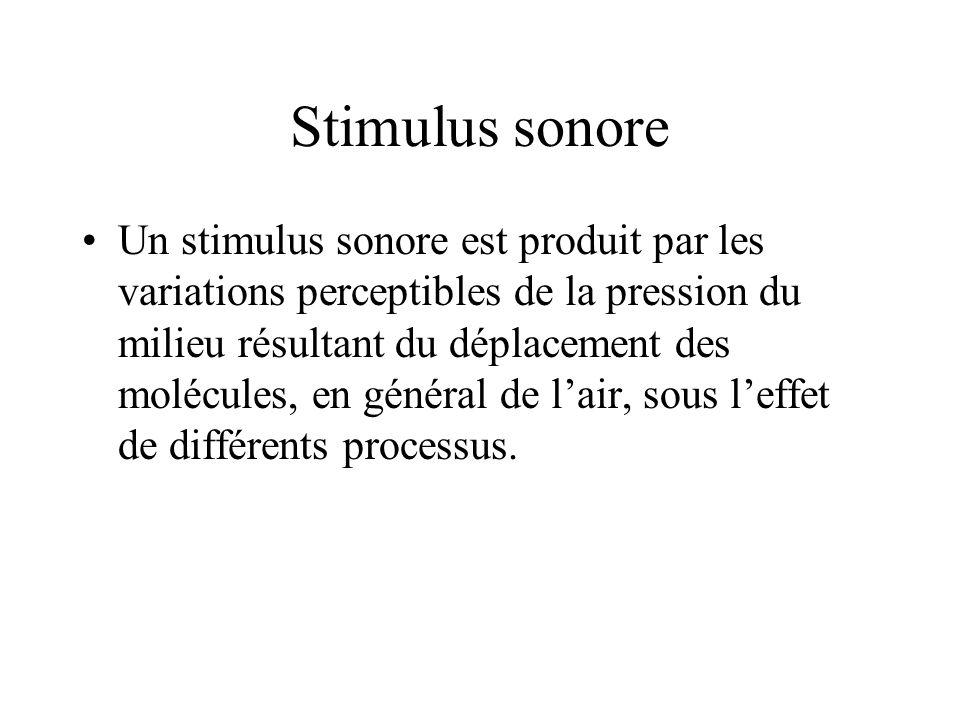 Stimulus sonore Un stimulus sonore est produit par les variations perceptibles de la pression du milieu résultant du déplacement des molécules, en gén