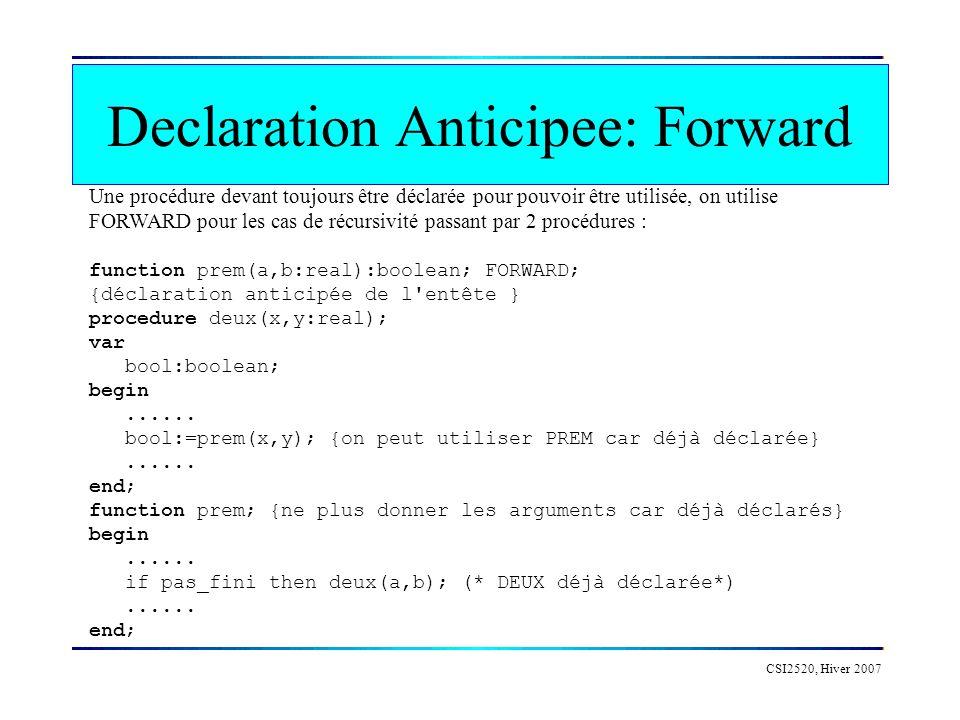 CSI2520, Hiver 2007 Declaration Anticipee: Forward Une procédure devant toujours être déclarée pour pouvoir être utilisée, on utilise FORWARD pour les cas de récursivité passant par 2 procédures : function prem(a,b:real):boolean; FORWARD; {déclaration anticipée de l entête } procedure deux(x,y:real); var bool:boolean; begin......