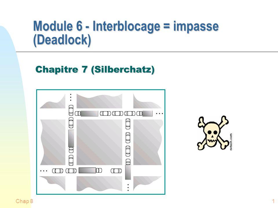 Chap 81 Module 6 - Interblocage = impasse (Deadlock) Chapitre 7 (Silberchatz)