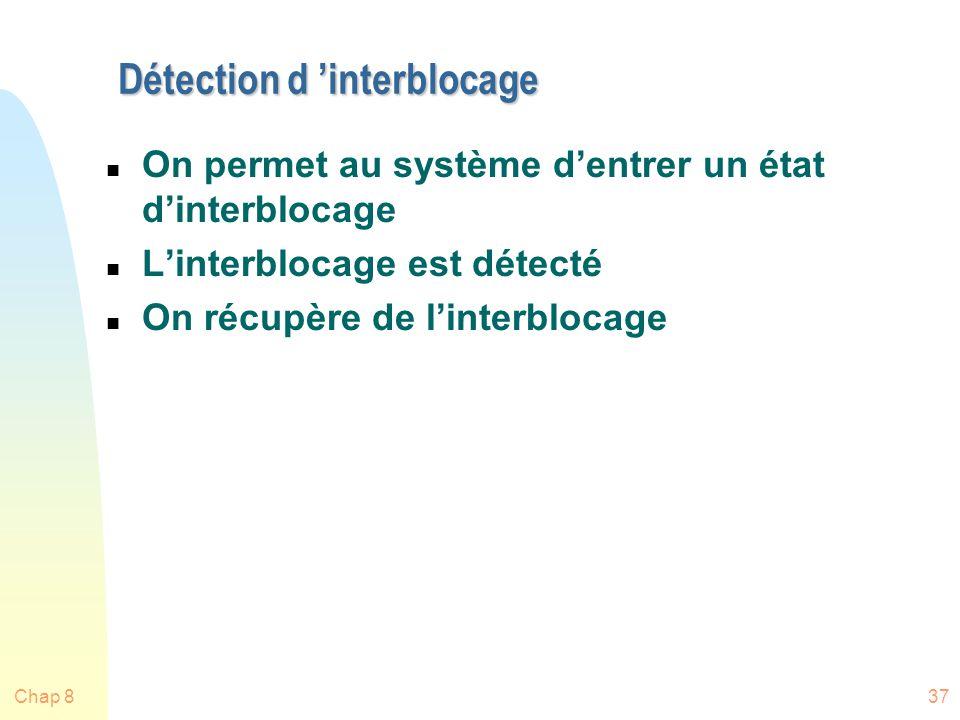 Chap 837 Détection d interblocage n On permet au système dentrer un état dinterblocage n Linterblocage est détecté n On récupère de linterblocage