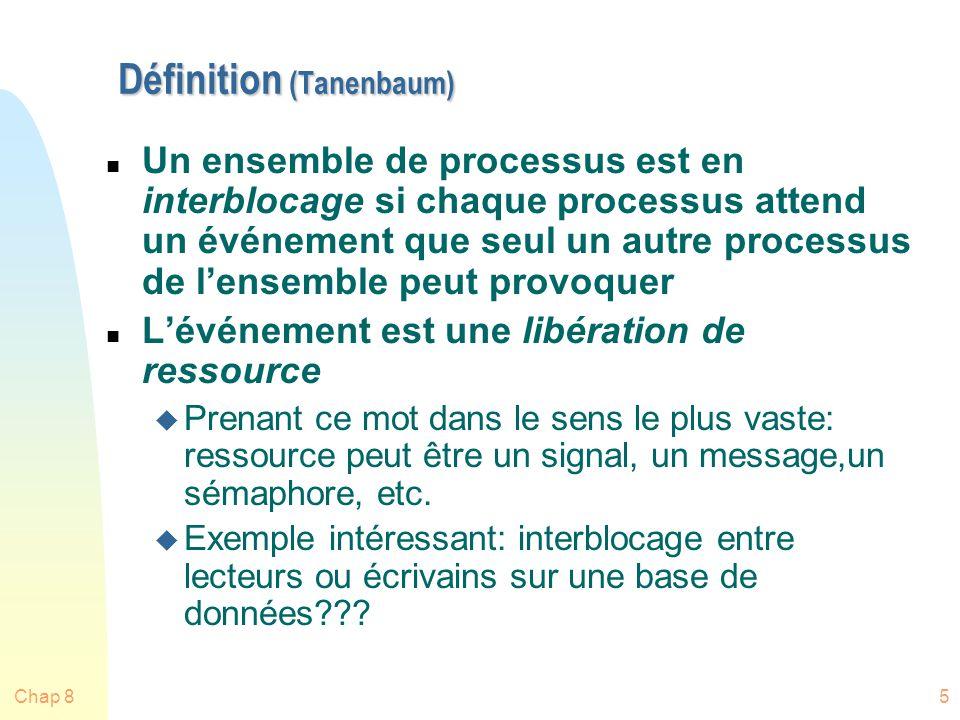 Chap 85 Définition (Tanenbaum) n Un ensemble de processus est en interblocage si chaque processus attend un événement que seul un autre processus de lensemble peut provoquer n Lévénement est une libération de ressource u Prenant ce mot dans le sens le plus vaste: ressource peut être un signal, un message,un sémaphore, etc.