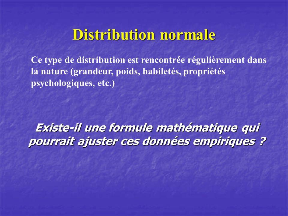 Distribution normale Ce type de distribution est rencontrée régulièrement dans la nature (grandeur, poids, habiletés, propriétés psychologiques, etc.)