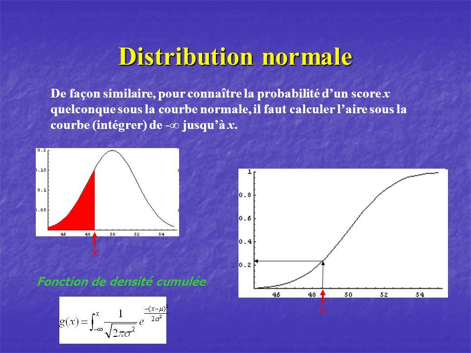 Distribution normale De façon similaire, pour connaître la probabilité dun score x quelconque sous la courbe normale, il faut calculer laire sous la c