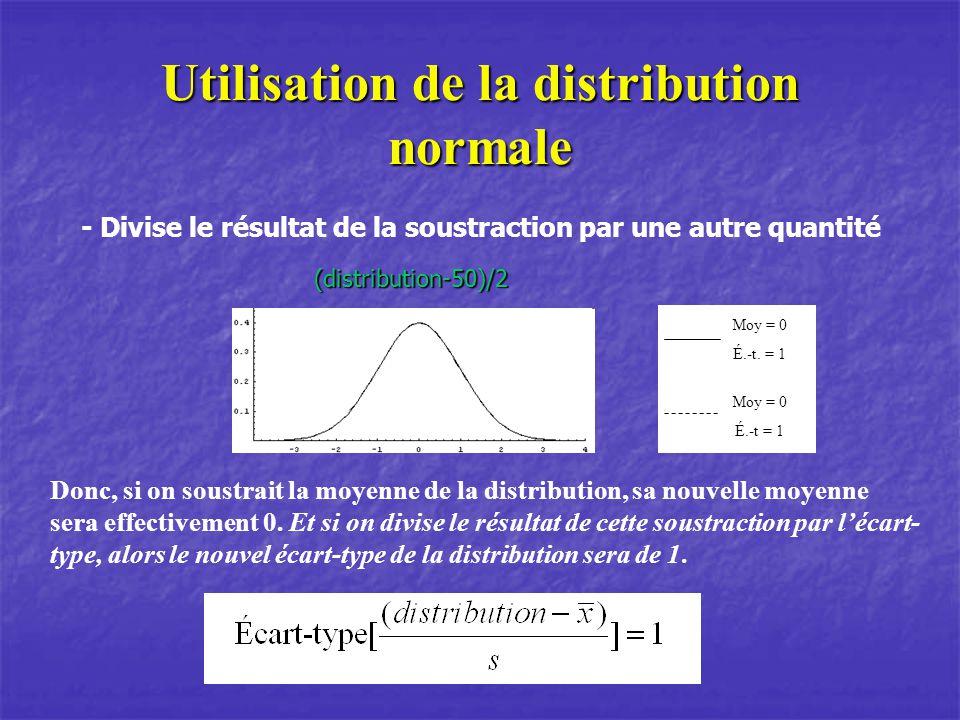Utilisation de la distribution normale (distribution-50)/2 Moy = 0 É.-t. = 1 Moy = 0 É.-t = 1 Donc, si on soustrait la moyenne de la distribution, sa