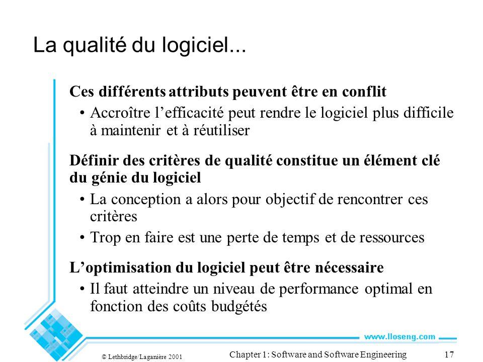 © Lethbridge/Laganière 2001 Chapter 1: Software and Software Engineering17 La qualité du logiciel... Ces différents attributs peuvent être en conflit