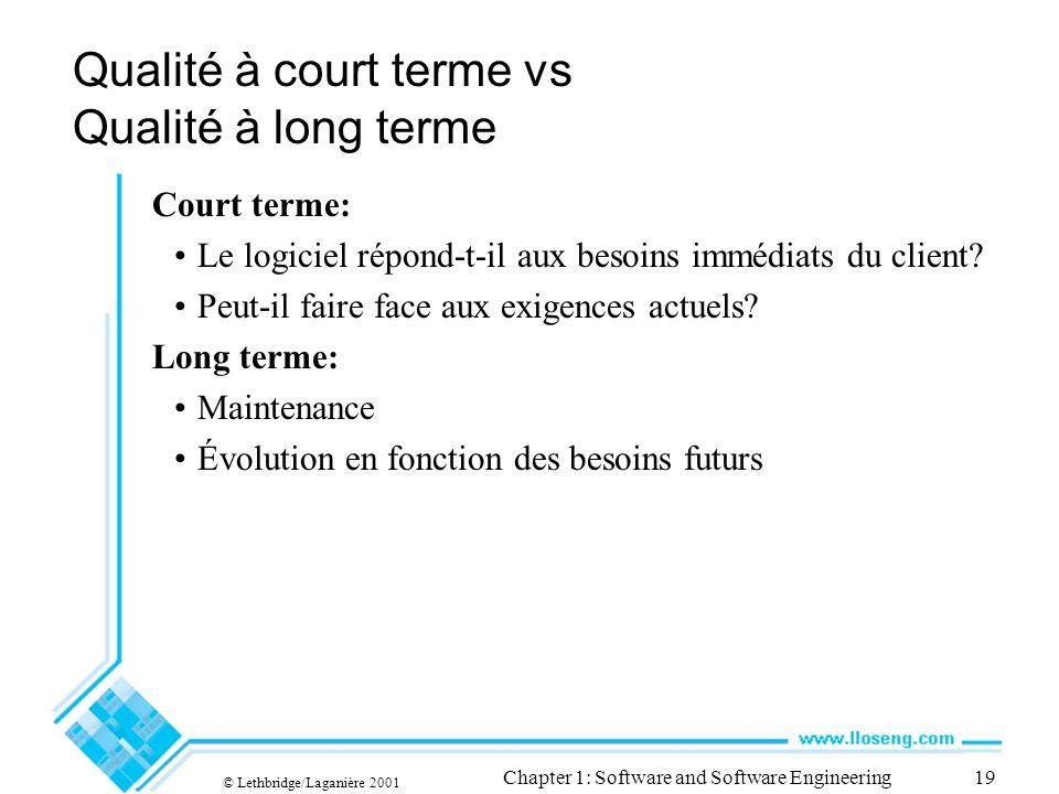 © Lethbridge/Laganière 2001 Chapter 1: Software and Software Engineering19 Qualité à court terme vs Qualité à long terme Court terme: Le logiciel répo