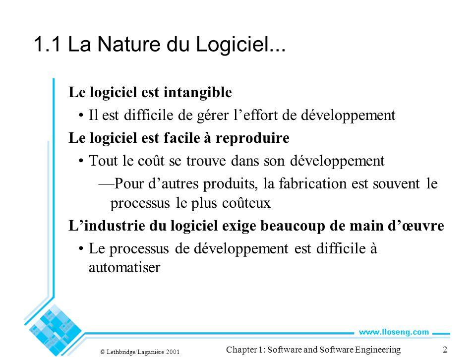 © Lethbridge/Laganière 2001 Chapter 1: Software and Software Engineering2 1.1 La Nature du Logiciel... Le logiciel est intangible Il est difficile de