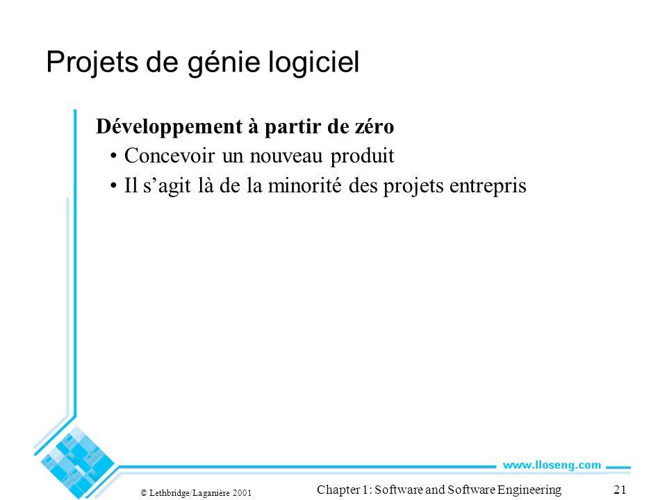 © Lethbridge/Laganière 2001 Chapter 1: Software and Software Engineering21 Projets de génie logiciel Développement à partir de zéro Concevoir un nouve