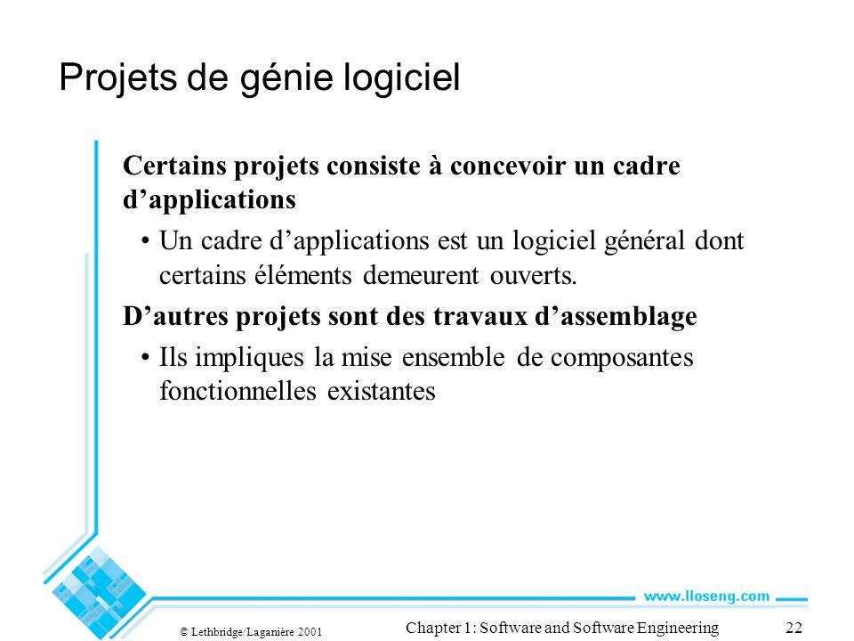 © Lethbridge/Laganière 2001 Chapter 1: Software and Software Engineering22 Projets de génie logiciel Certains projets consiste à concevoir un cadre dapplications Un cadre dapplications est un logiciel général dont certains éléments demeurent ouverts.