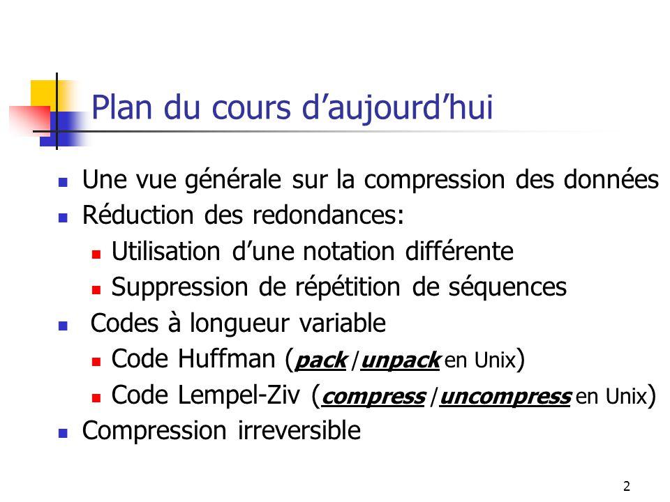 2 Plan du cours daujourdhui Une vue générale sur la compression des données Réduction des redondances: Utilisation dune notation différente Suppressio