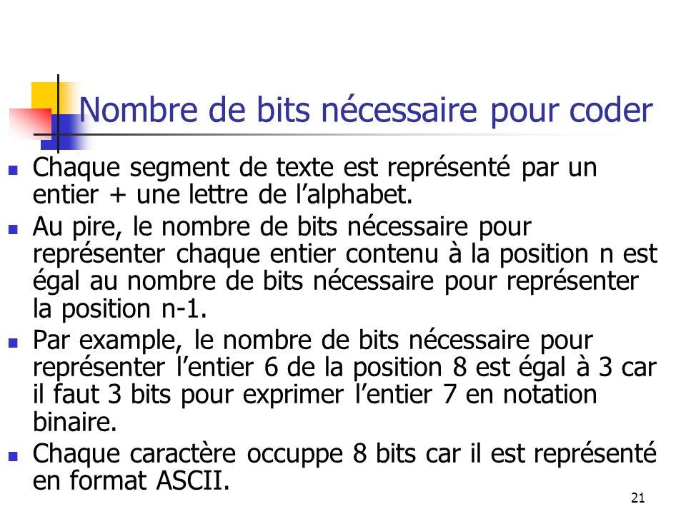 21 Nombre de bits nécessaire pour coder Chaque segment de texte est représenté par un entier + une lettre de lalphabet. Au pire, le nombre de bits néc