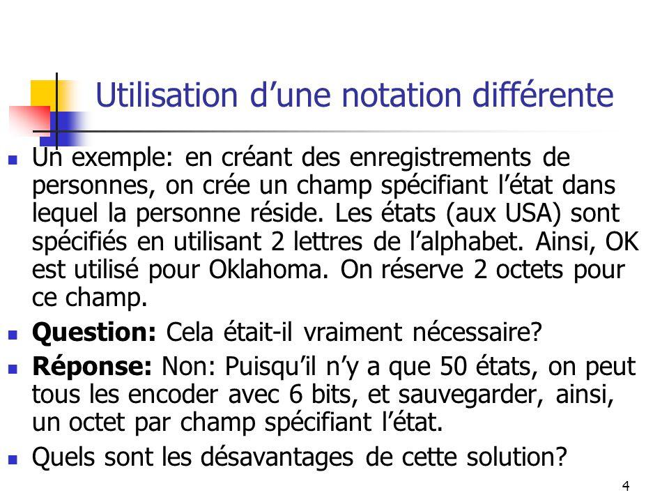 4 Utilisation dune notation différente Un exemple: en créant des enregistrements de personnes, on crée un champ spécifiant létat dans lequel la person