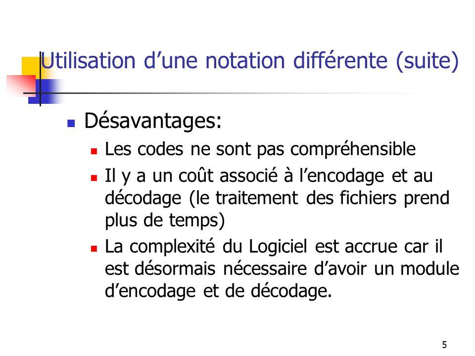 5 Utilisation dune notation différente (suite) Désavantages: Les codes ne sont pas compréhensible Il y a un coût associé à lencodage et au décodage (l
