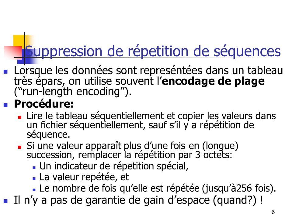 6 Suppression de répetition de séquences Lorsque les données sont represéntées dans un tableau très épars, on utilise souvent lencodage de plage (run-