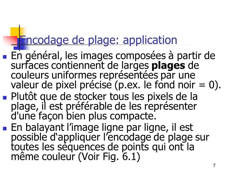7 Encodage de plage: application En général, les images composées à partir de surfaces contiennent de larges plages de couleurs uniformes représentées