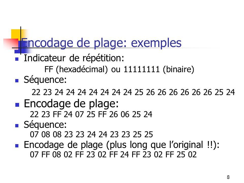 8 Encodage de plage: exemples Indicateur de répétition: FF (hexadécimal) ou 11111111 (binaire) Séquence: 22 23 24 24 24 24 24 24 24 25 26 26 26 26 26