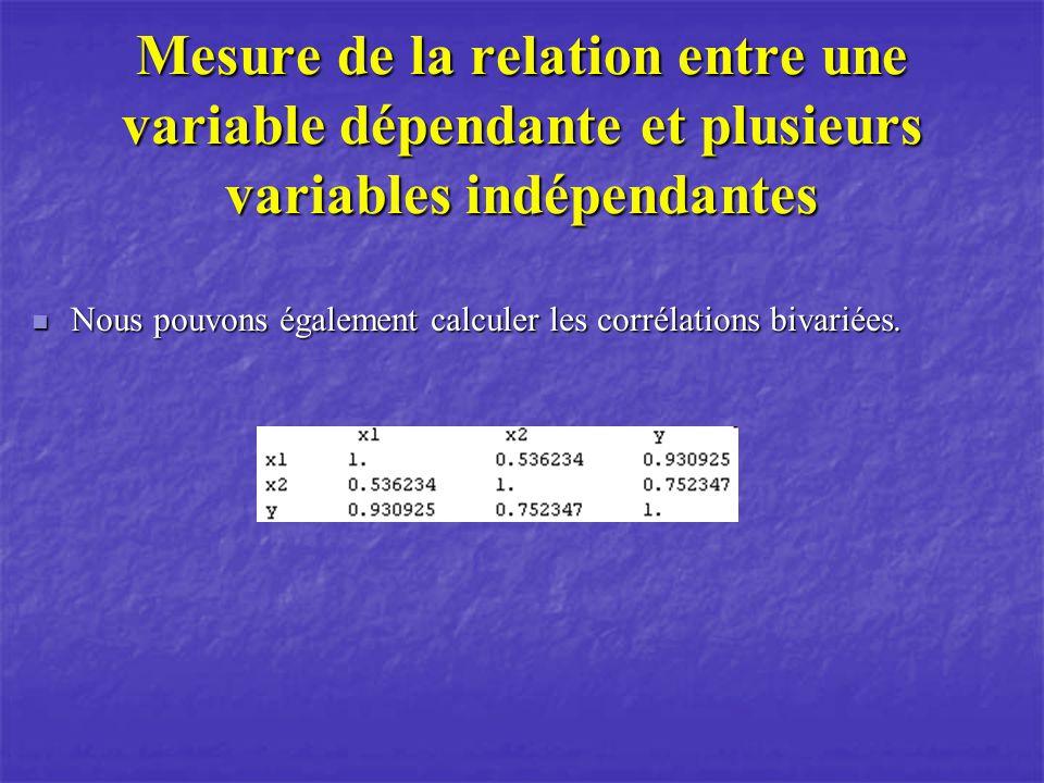 Mesure de la relation entre une variable dépendante et plusieurs variables indépendantes Nous pouvons également calculer les corrélations bivariées.