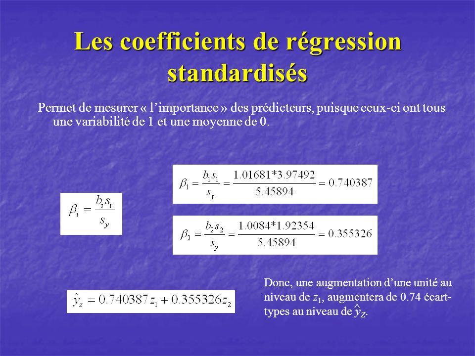 Les coefficients de régression standardisés Permet de mesurer « limportance » des prédicteurs, puisque ceux-ci ont tous une variabilité de 1 et une moyenne de 0.
