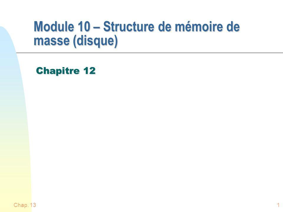Chap. 131 Module 10 – Structure de mémoire de masse (disque) Chapitre 12
