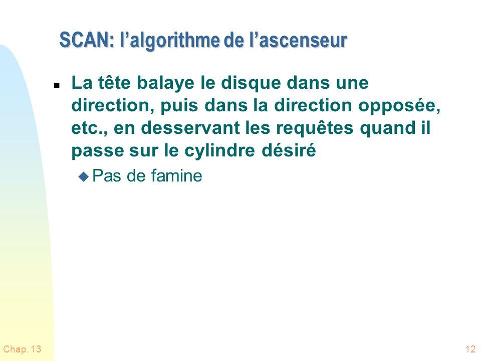 Chap. 1312 SCAN: lalgorithme de lascenseur n La tête balaye le disque dans une direction, puis dans la direction opposée, etc., en desservant les requ