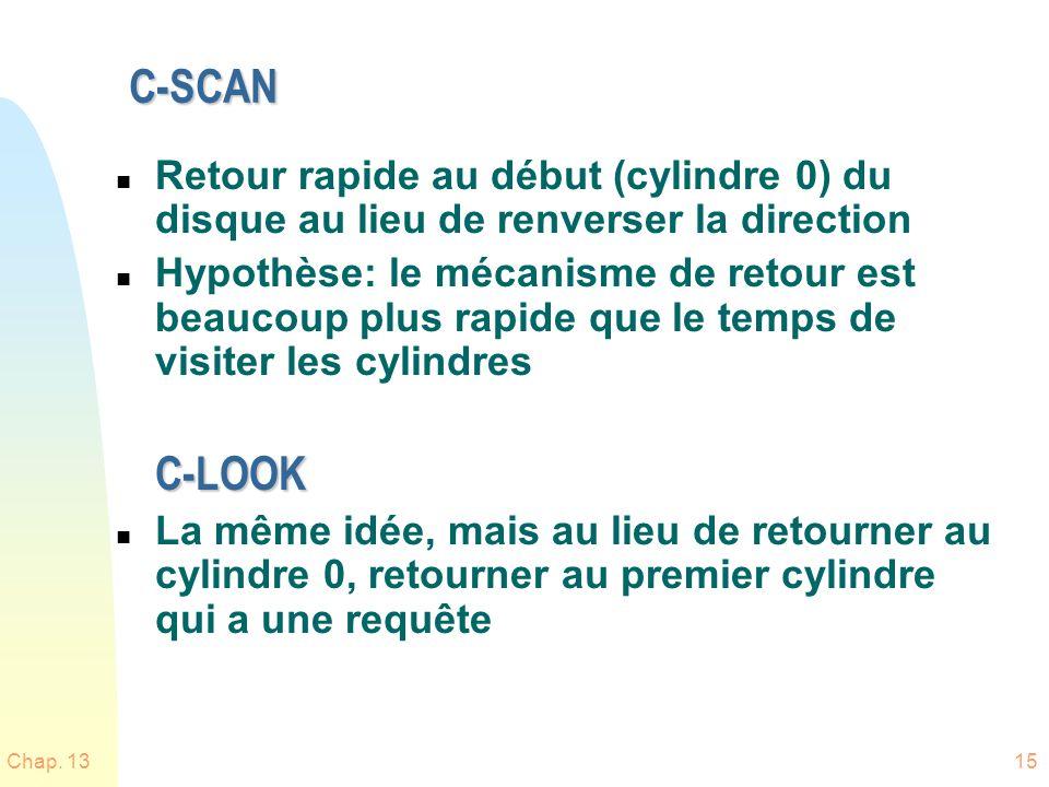 Chap. 1315 C-SCAN n Retour rapide au début (cylindre 0) du disque au lieu de renverser la direction n Hypothèse: le mécanisme de retour est beaucoup p