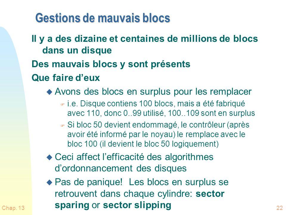 Chap. 1322 Gestions de mauvais blocs Il y a des dizaine et centaines de millions de blocs dans un disque Des mauvais blocs y sont présents Que faire d