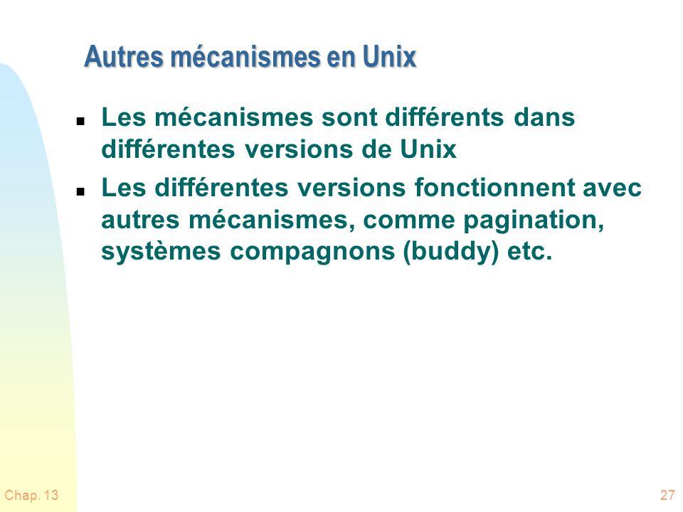 Chap. 1327 Autres mécanismes en Unix n Les mécanismes sont différents dans différentes versions de Unix n Les différentes versions fonctionnent avec a