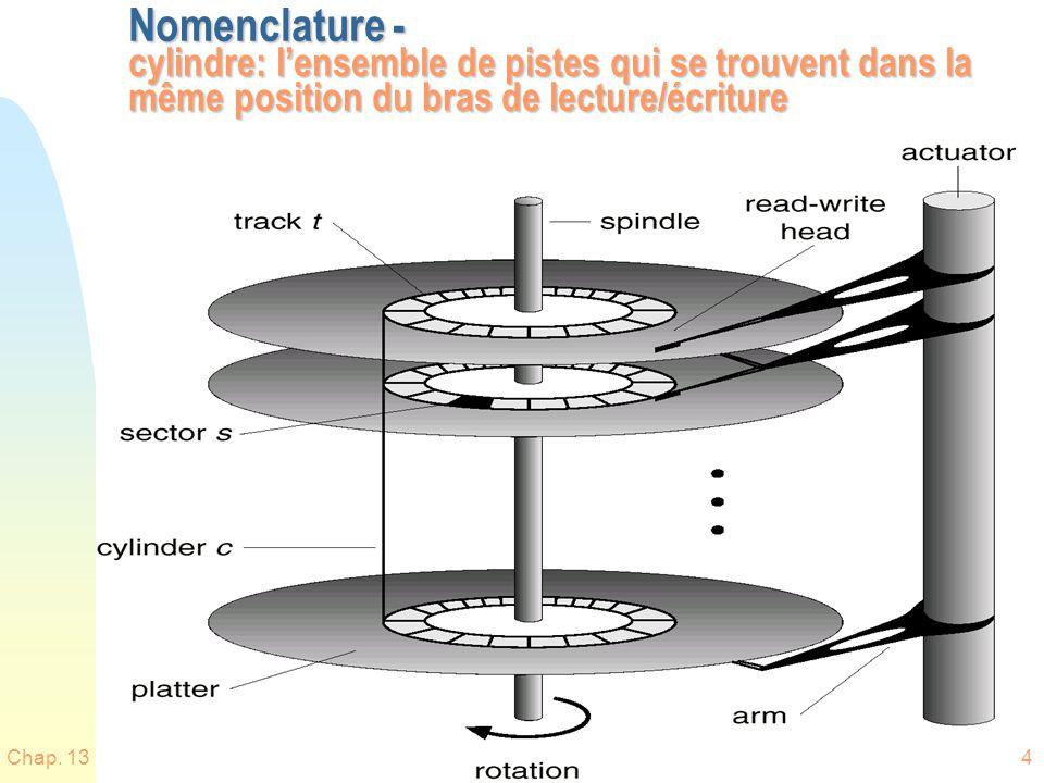 Chap. 134 Nomenclature - cylindre: lensemble de pistes qui se trouvent dans la même position du bras de lecture/écriture