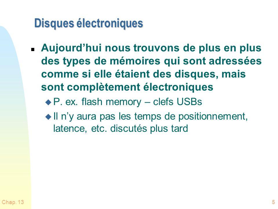 Chap. 135 Disques électroniques n Aujourdhui nous trouvons de plus en plus des types de mémoires qui sont adressées comme si elle étaient des disques,