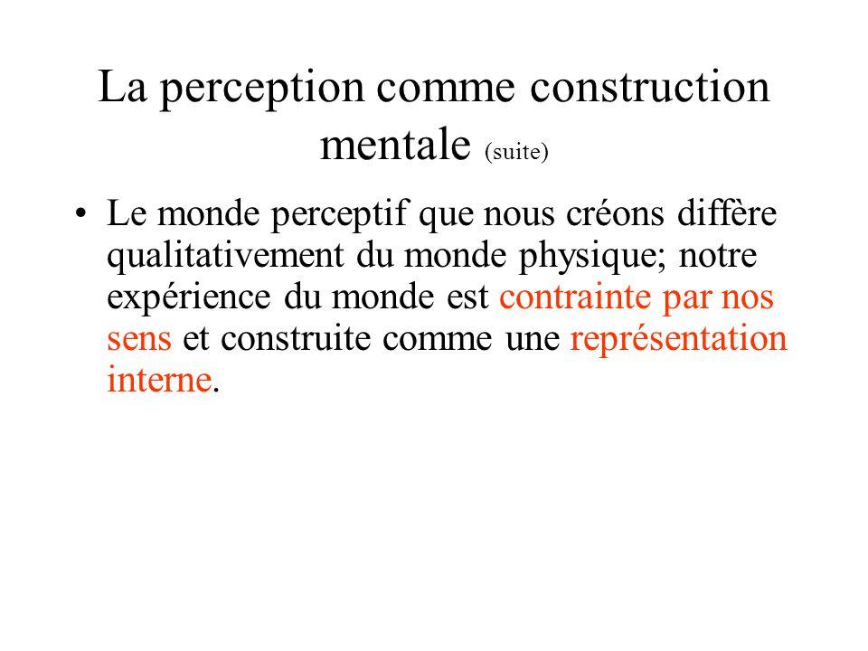 La perception comme construction mentale (suite) Le monde perceptif que nous créons diffère qualitativement du monde physique; notre expérience du mon
